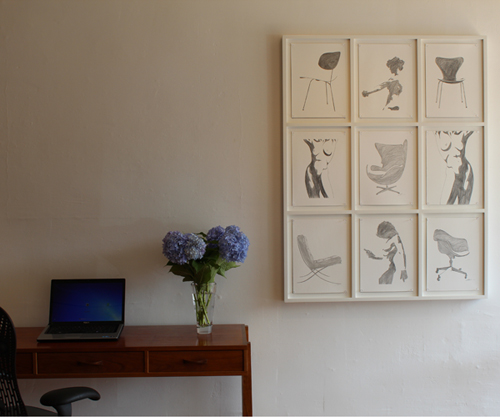 Pencil-on-paper-nine-frame-system-installation-