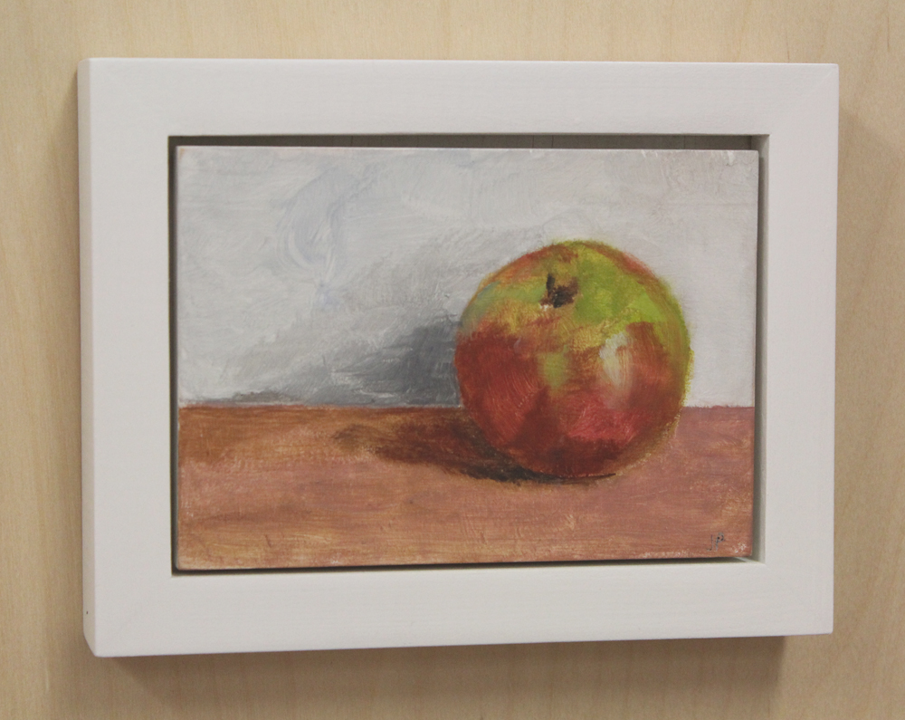 Still life with apple 10 12 13. oil on wood 5 x 6.5 framed
