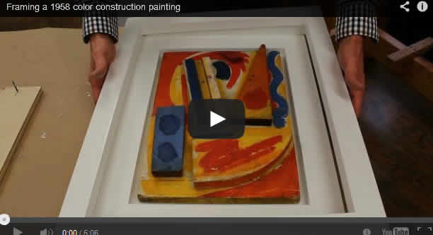 Framing a 1958 color construction painting
