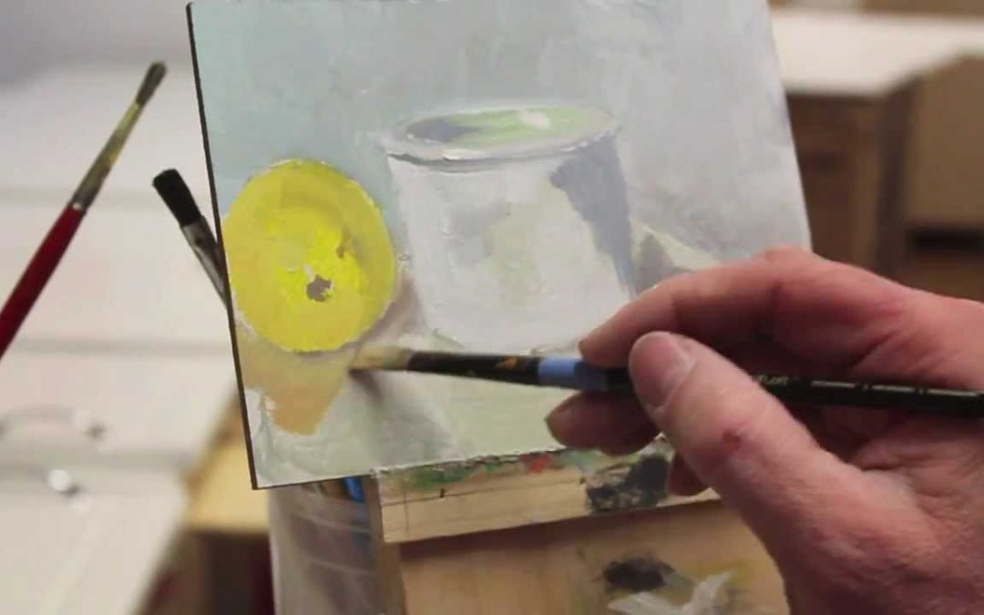 Intro to Painting, class # 1. Lemon and  cup. 2/22/2014