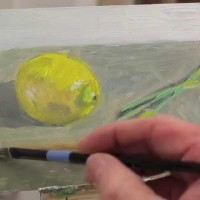 Intro to Painting, class 7. Lemon and Daffodil Bud, 3 / 31 / 14