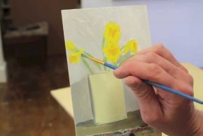 Intro to painting class #9 , Daffodils and Vase