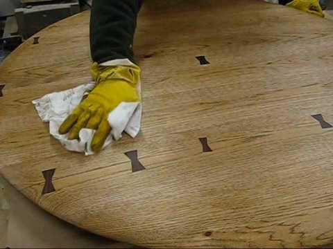 Repair a kitchen table top, with a Dutchman wood joint