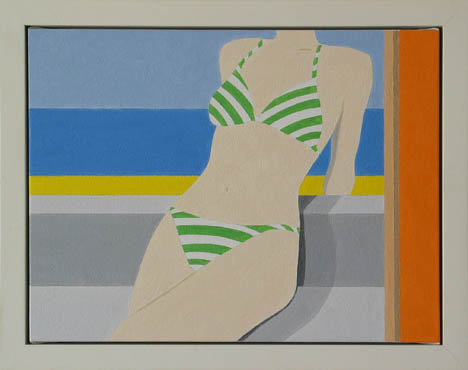 $2,000 Green Stripe, 2009.  Oil on canvas 15 x 19 framed