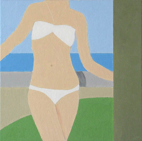$2,000 White Bandeau, 2009.  Oil on canvas 15 x 15 framed