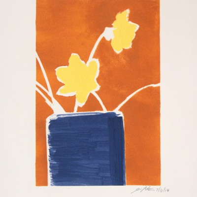 Daffodils Orange 7 12 14. Acrylic on paper