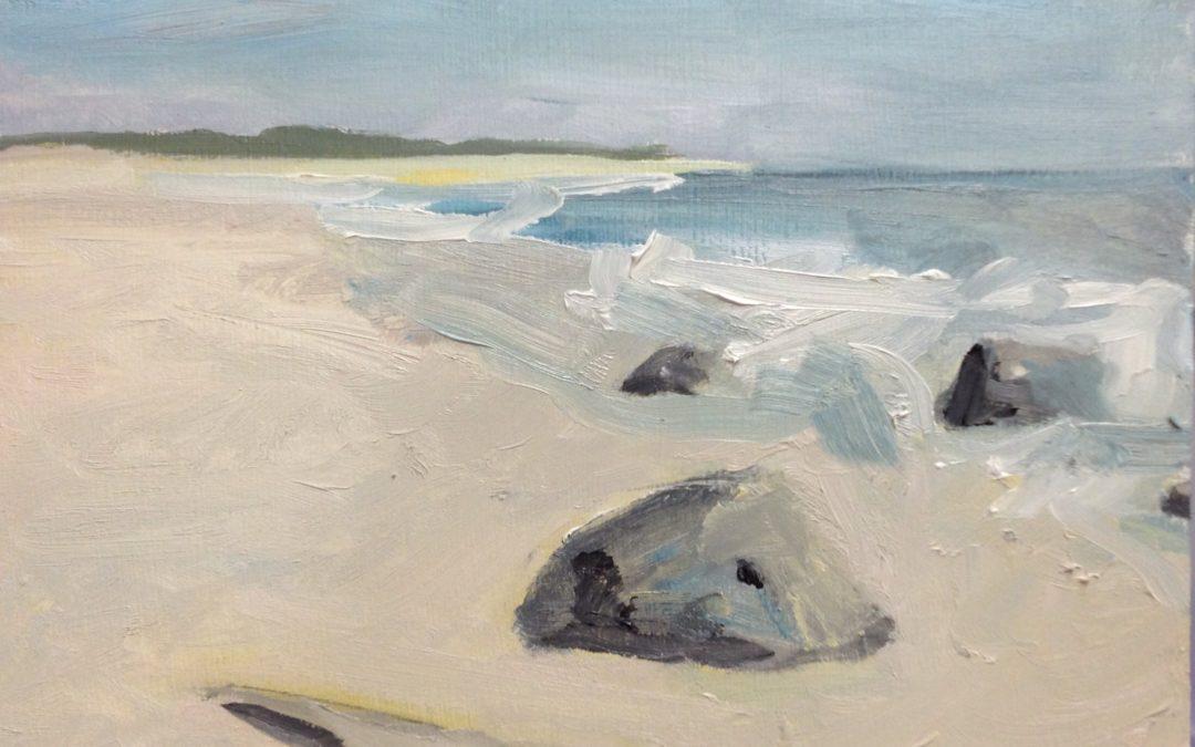Rocks at Sandy Hook . Oil on wood panel 5″ x 7″