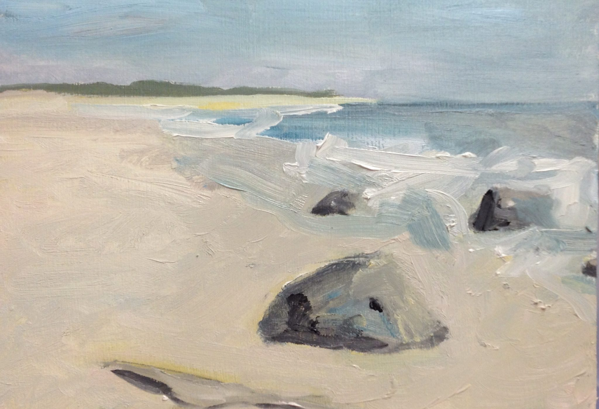 Rocks at Sandy Hook . Oil on wood panel 5″ x 7″