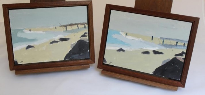 "Two versions of the painting featured in Sunday's ""In The Studio"" video"