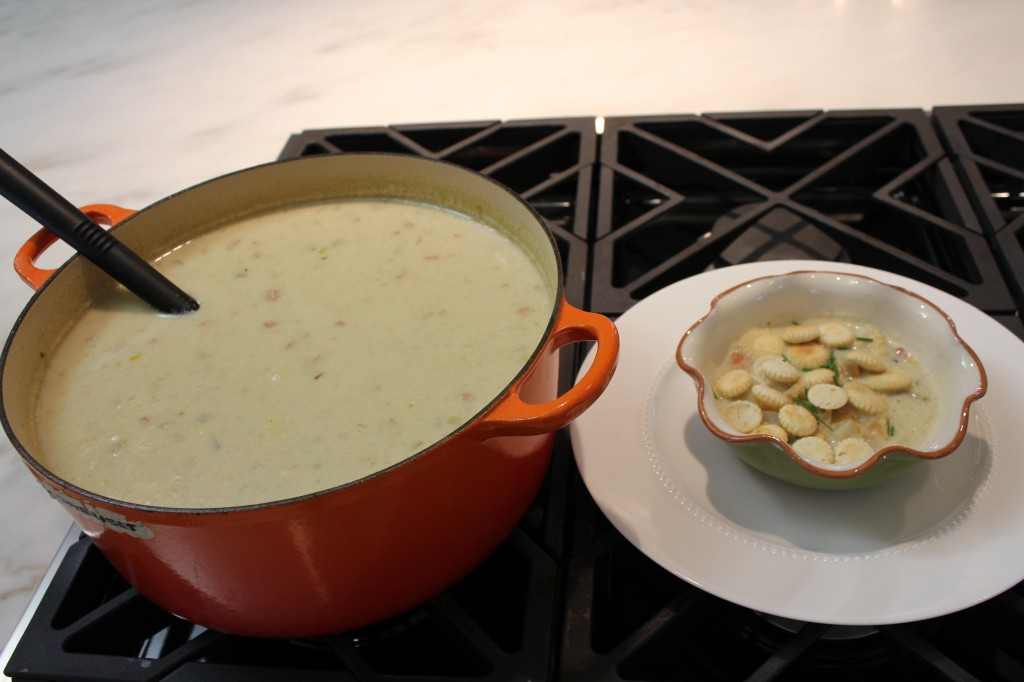 The finished chowder - not too thick but loaded with clams.