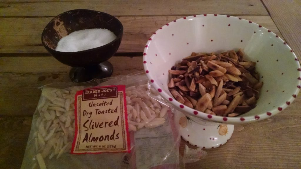 Perfectly toasted slivered almonds...sprinkle with salt