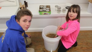 The kids had a great time helping with the honey harvest
