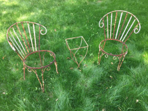 Refinish & Make New Seats for Wrought Iron Chairs