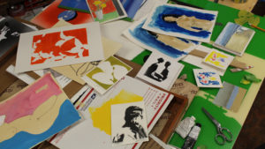 Some of the works on paper to be sorted and organized