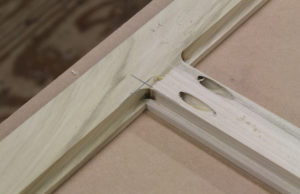 The back of the frame joint with the Kreg jig or pocket hole screws