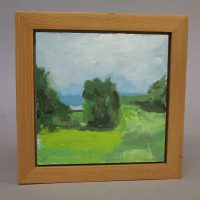 South View from Huber Woods. oil on canvas framed in reclaimed Douglas fir 7 x 7_ framed