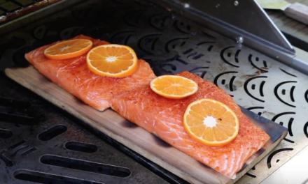 Cedar Planked Salmon with Prosciutto Wrapped Asaparagus Bundles