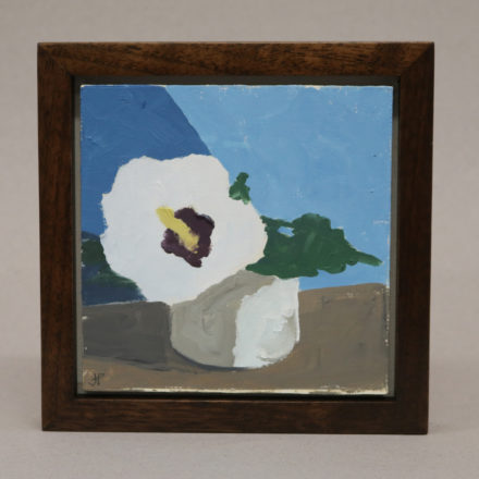 $300 Rose of Sharon. Oil on panel 7x7_ framed. Framed in walnut