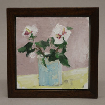 $350 Still life with Rosa Sharon. Oil on panel 7x7_ framed. Framed in walnut