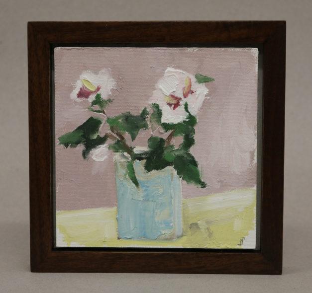 $350 Still life with Rosa Sharon. Oil on panel 7x7_ framed. Framed in walnut