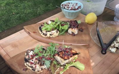 Grilled Striped Bass & Cauliflower Steaks with Tapenade  – Recipe & Video