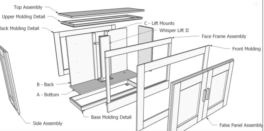 Click Here To Download FREE DESIGN PLANS For This TV Lift Cabinet Project  And Learn More About The Whisper Lift II.
