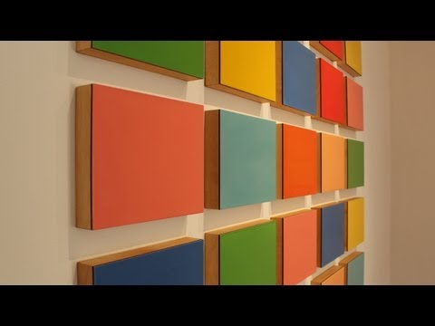 Hang a grid painting with the French cleat system