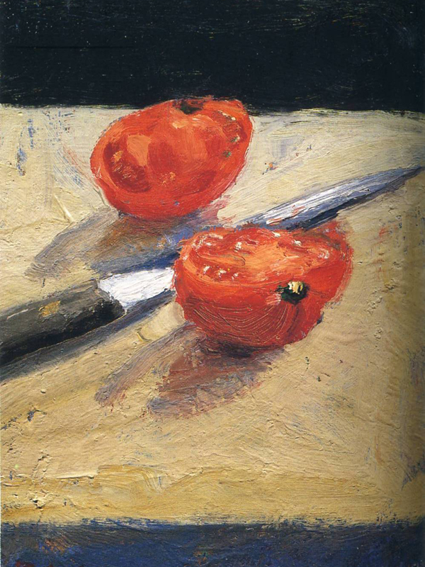 Tomato and Knife by Richard Diebencorn. Oil on wood panel 9 x 16 inches 1963