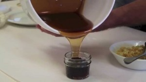 Processed honey from Jon's Top Bar Hive that I used in this recipe...check out the great color!