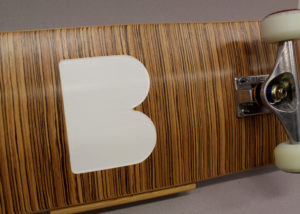 Close up of the finished skateboard