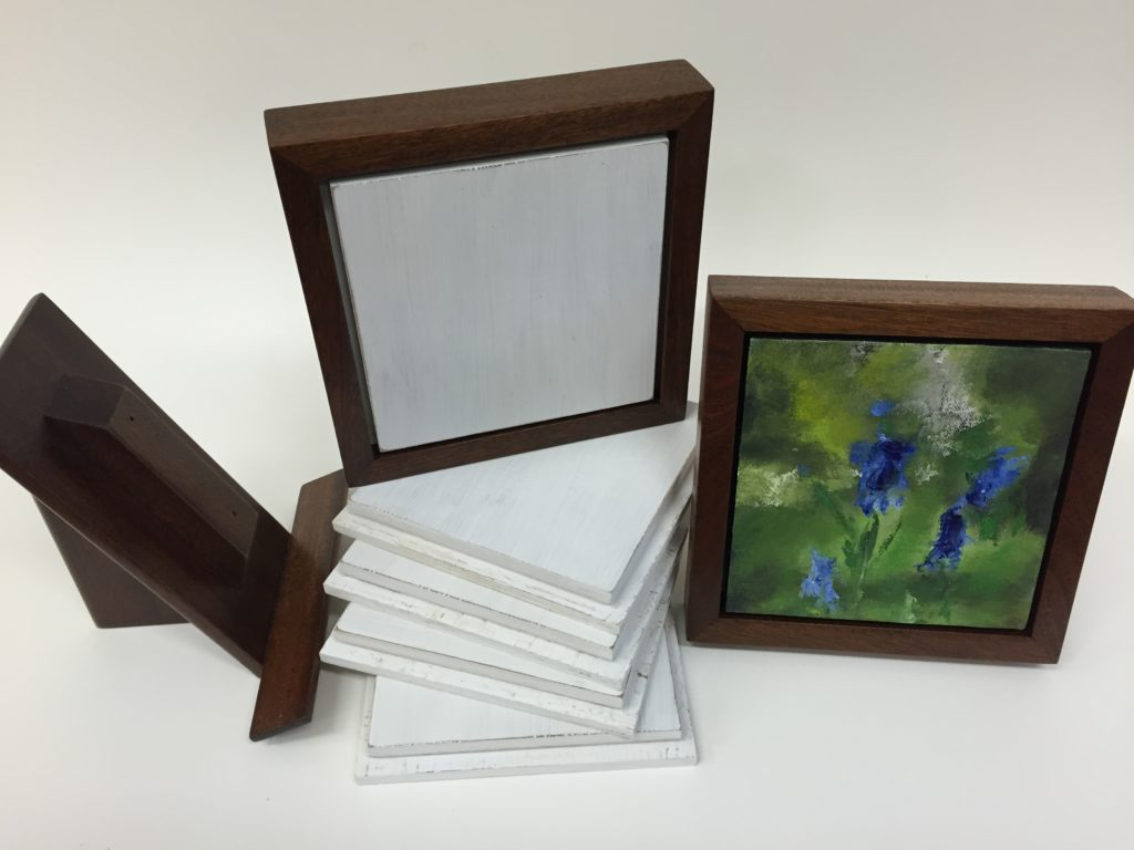 For Howard - Small painting, primed panels, frame and easel