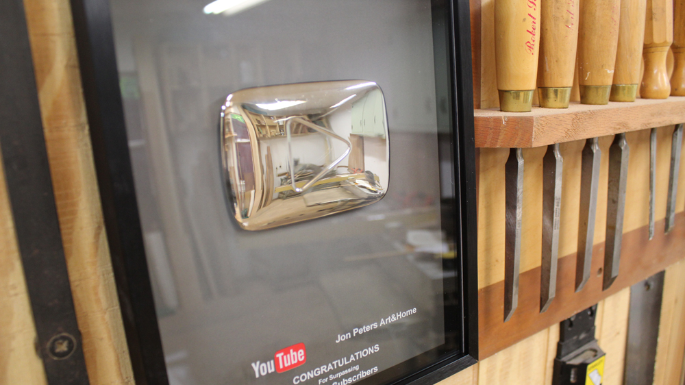YouTube Plaque for 100k Subscribers and Q&A on French Cleat Video