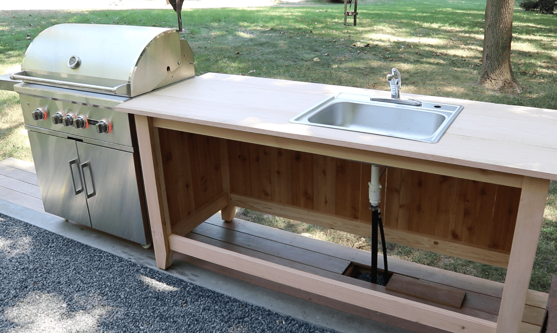 outdoor kitchen sink cabinet build an outdoor kitchen cabinet amp countertop with sink 24161