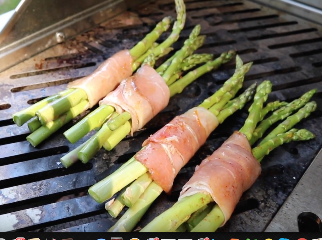 Grill Asparagus bundles on high heat for 3-4 minutes until prosciutto crisps
