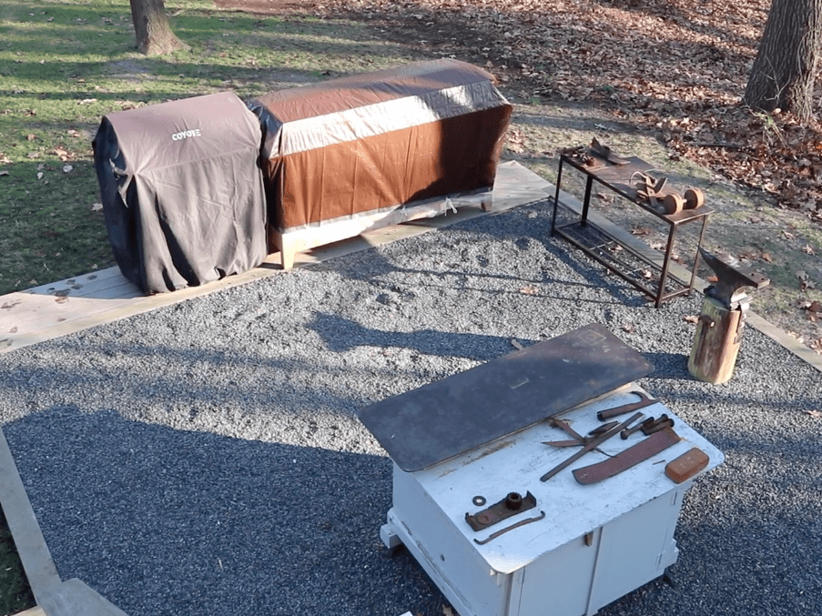 Making a Cover to Winterize the Outdoor Kitchen Cabinet