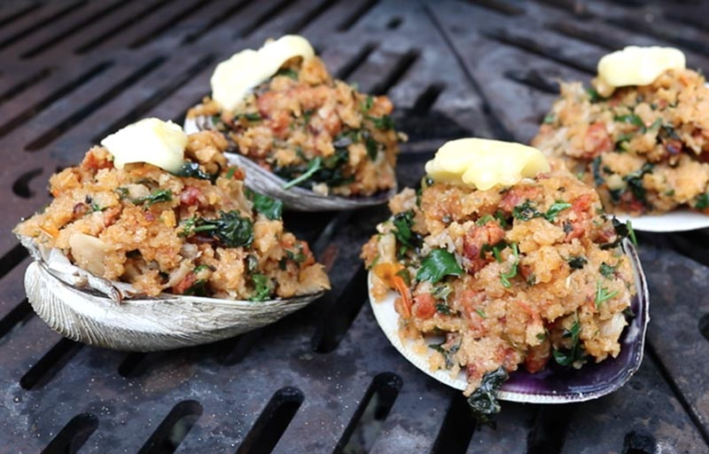 Stuffed Clams with Chorizo and Kale